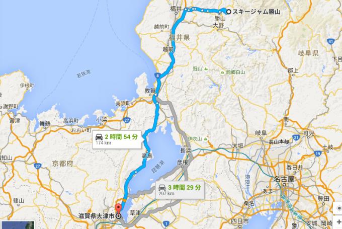 スキージャム勝山 から 滋賀県大津市 - Google マップ 2016-02-18 14-18-05