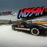 日産のGTRとスノーボーダーがガチンコ対決!スピードがやばい!